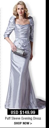 Puff Sleeve Evening Dress