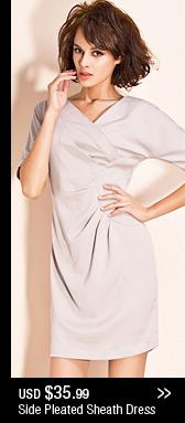 Side Pleated Sheath Dress