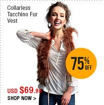 Collarless Tacchino Fur Vest