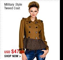 Military Style Tweed Coat
