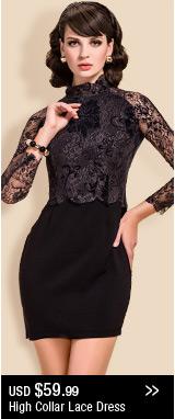 High Collar Lace Dress