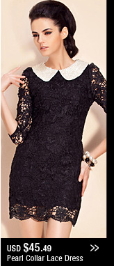 Pearl Collar Lace Dress