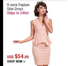 V-neck Peplum Slim Dress