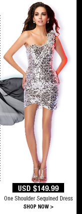 One Shoulder Sequined Dress