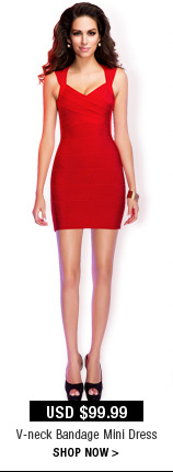 V-neck Short Bandage Dress