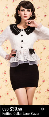 Knitted Collar Lace Blazer