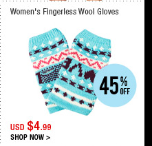 Women's Fingerless Wool Gloves