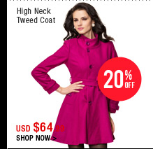 High Neck Tweed Coat