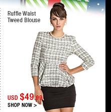 Ruffle Waist Tweed Blouse