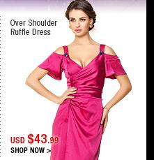 Over Shoulder Ruffle Dress