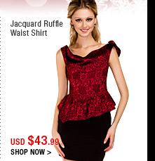 Jacquard Ruffle Waist Shirt