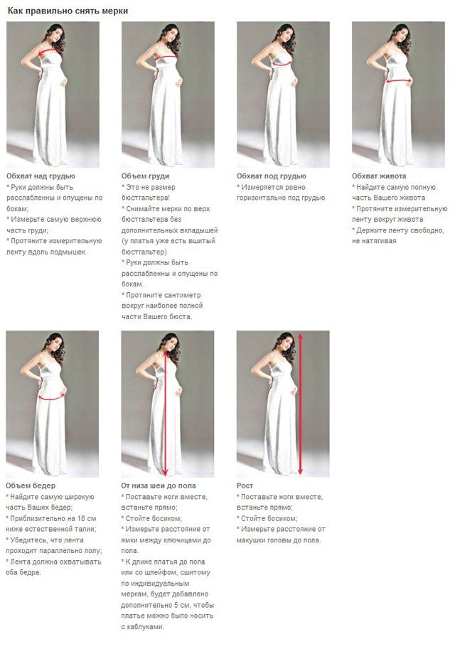 Как снять мерки на платья беременных