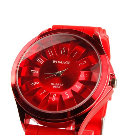 Женские кварцевые наручные часы Хризантема на силиконовом ремешке (красные