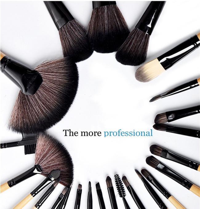 24pcs Pony Hair Makeup Brushes Set Professional Wood
