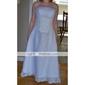 Linia -A Prințesă Fără Bretele Lungime Tea Organza Rochie de mireasă cu Dantelă de LAN TING BRIDE®