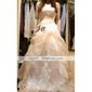 mingea rochie fara bretele, etaj-lungime satin organza volane rochia de mireasa (wsm0178)