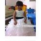 Ball Gown Tea-length Flower Girl Dress - Satin/Organza Sleeveless
