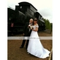 Satin A-Line Off-the-shoulder Court Train Beading Wedding Dress inspired by Julia Roberts Runaway Bride