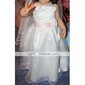 Lanting Bride Ball Gown Floor-length Flower Girl Dress - Organza / Satin Sleeveless Scoop with Flower(s) / Sash / Ribbon