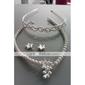 lindos cristais transparentes com imitação de pérolas conjunto de jóias de casamento, incluindo colar, brincos e tiara