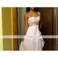 Formal Evening/Military Ball Dress - White Plus Sizes Sheath/Column One Shoulder/Sweetheart Sweep/Brush Train Chiffon/Stretch Satin