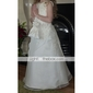 Lanting Bride A-line / Princess Floor-length Flower Girl Dress - Taffeta / Tulle Sleeveless Scoop with Appliques / Beading / Side Draping