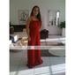 Lanting Bride® Boden-Länge Chiffon Brautjungfernkleid A-Linie / Prinzessin Trägerlos Übergröße / Zierlich mitDrapiert / Horizontal