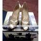 real superior de cuero zapatos de tacón peep-toes con el zapato bowknot la moda (0985-hg2111)