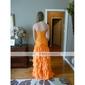 Trumpet/ Mermaid Strapless Floor-length Chiffon/ Satin Prom Dress