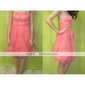 Lanting Knee-length Satin / Organza Bridesmaid Dress - Pearl Pink Plus Sizes / Petite A-line Strapless