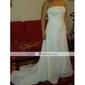 Sheath/Column Plus Sizes Wedding Dress - Ivory Chapel Train Strapless Chiffon