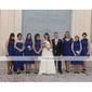 Homecoming Bridesmaid Dress Knee Length Chiffon A Line High Neck Wedding Party Dress