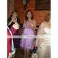 kotiinpaluu polvipituinen satiini / tylli morsiusneito mekko - punastuminen vaaleanpunainen plus koot-linjainen / Prinsessa Olkaimeton