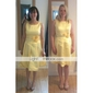 Knee-length Satin Bridesmaid Dress - Daffodil Plus Sizes A-line Straps/Square