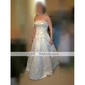 A-line/Princess Plus Sizes Wedding Dress - Ivory Sweep/Brush Train Strapless Satin