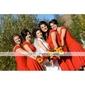 Bridesmaid Dress Tea Length Chiffon A Line Off the shoulder Wedding Party Dress