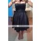 신부 들러리 드레스 - 블랙 A라인 핫팬츠/미니 스트랩 없음 태피터 플러스 사이즈