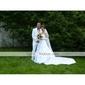 Lanting brud en linje / prinsessan petite / plus storlekar brudklänning-kapell tåg axelbandslös satin