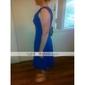 Knee-length Chiffon Bridesmaid Dress - Sky Blue Plus Sizes A-line/Princess V-neck