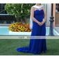 Prom/Military Ball/Formal Evening Dress - Royal Blue Plus Sizes Sheath/Column Strapless/Sweetheart Sweep/Brush Train Chiffon