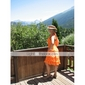 Homecoming Knee-length/Asymmetrical Chiffon Bridesmaid Dress - Orange Plus Sizes A-line Halter/V-neck