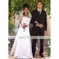 lanting novia una línea / princesa pequeña / más el tamaño de la boda vestido palabra de longitud satén sin tirantes