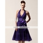 Lanting Bride® Knee-length Chiffon Bridesmaid Dress A-line Halter / V-neck Plus Size / Petite with Bow(s) / Sash / Ribbon
