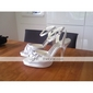 satin övre högklackade strappy sandaler med rhinestone / bowknot skor bröllopstjänster bridal