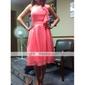 Knee-length One Shoulder Bridesmaid Dress - Elegant Sleeveless Chiffon