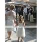 wedding dress-line / księżniczka bez ramiączek do kolan sukienka organzy
