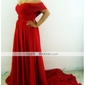 Formal Evening Dress - Ruby Plus Sizes / Petite A-line Off-the-shoulder / Sweetheart Court Train Chiffon