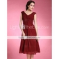 Sheath/ Column V-neck Tea-length Chiffon Matte Satin Mother of the Bride Dress