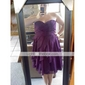Bridesmaid Dress Knee-Length Chiffon A Line Sweetheart Dress With Tiers