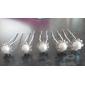 nydelige klare krystaller og imiterte perler bryllup brude pins / blomster, 6 stk